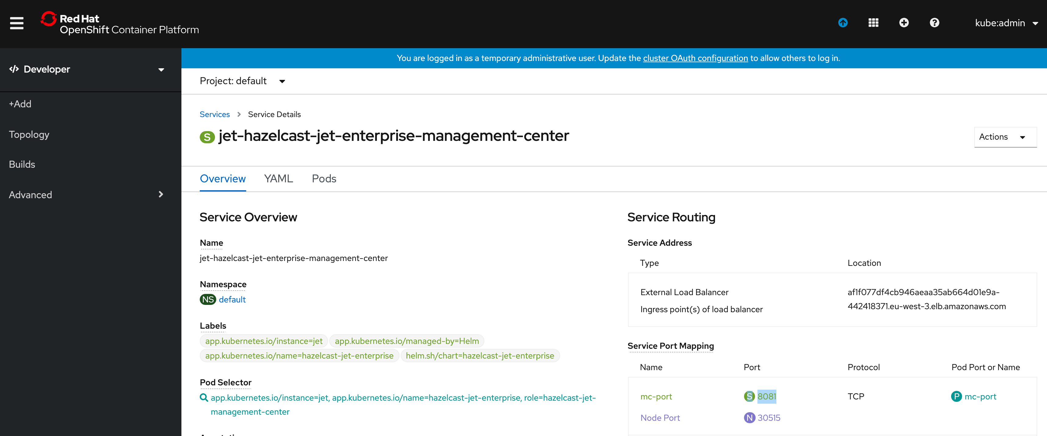 Hazelcast Jet Management Center Service